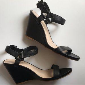 Lacoste Black Leather Karoly Dress Wedge Sandals